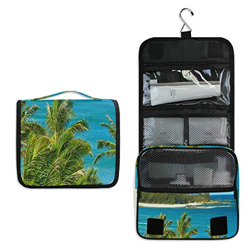 Hawaii Blue Ocean Sky Large Capacity Hanging Toiletry Bag for Men & Women, Portable Waterproof Bathroom Shower Bag, Lightweight Dopp kit Shaving Bag, Sturdy Metal Hook Organizer Makeup Bag