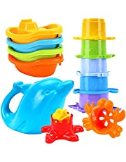 TECHNOK Baby Bath Toys for Toddlers - 12 pcs Rainbow Stacking Cups Baby Toy with Bath Boats Train and Toddler Watering Can - Stackable Plastic Bath Toys - Sea Animal Shapes Bath Toy for Girls and Boys