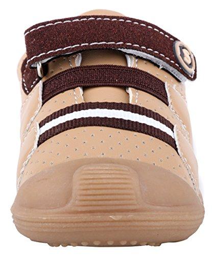 LONSOEN Baby Boys and Girls Anti-Slip Walking Shoes Toddler Athletic Sneaker BAY001 Brown CN19 by LONSOEN (Image #4)