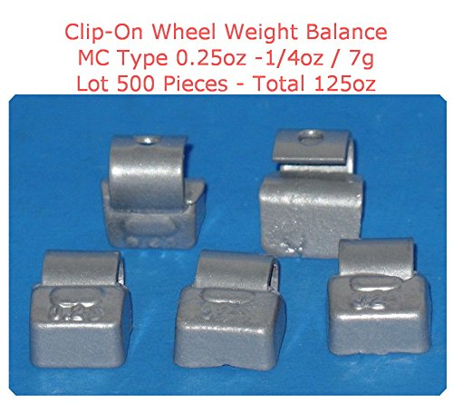 (500 Pieces) ZN CLIP-ON WHEEL WEIGHT BALANCE 0.25oz 1/4oz 7g MC Type Total 125.00oz (Use for All Types of Alloy wheels On Passenger Cars , Trucks , Vans & Motorcycles)