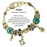 Pisces Charm Bracelet Z14 Clear Crystal Blue Green Murano Glass Zodiac Two Fish Feb March Gold Tone