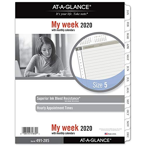 AT-A-GLANCE 2020 Weekly Planner Refill, Day Runner, 8-1/2