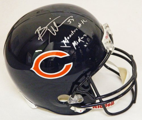 Midway Signed Replica Helmet - Brian Urlacher Signed Bears Riddell Full-Size Replica Helmet w/Monsters of the Midway - Schwartz COA