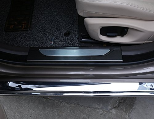 Carbon Stainless Steel Interior Decoration Black Car Door Sill Plate Protector Cover Plate Trim Stickers For XF 2016 2017 by Luxuqo