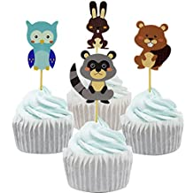 Betop House 24pcs Woodland Forest Animals Themed Party Decorative Cupcake Topper