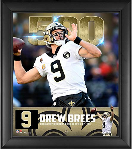 Record Photograph Touchdown - Drew Brees New Orleans Saints Framed 15'' x 17'' 500th Touchdown Milestone Collage - NFL Player Plaques and Collages