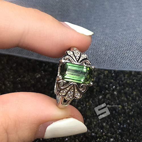 Untreated Green Tourmaline Ring, 1.67CTW. Emerald Cut Forest Green Tourmailne In Sterling Silver Adjustable Ring, Genuine Tourmaline Jewelry ()
