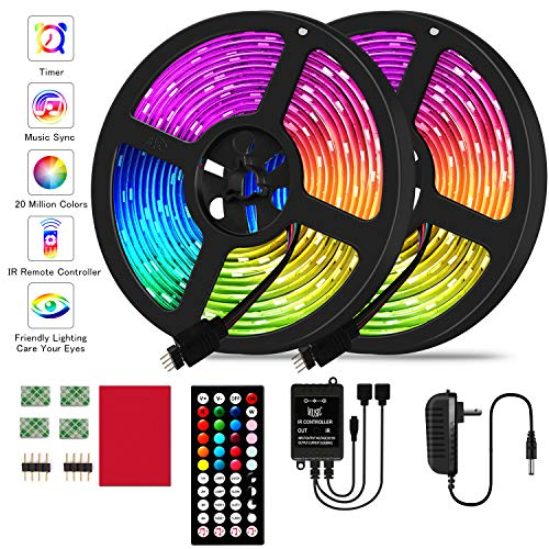 LED Strip Lights19.68ft RGB LED Strip Lights 5050 LED Lights,Color Changing LED Strip Lights with 44 Keys IR Remote Lights for Home Decoration,12V Power Supply LED Light with Music Sync Color Changing (Rgb Led Light Strip)