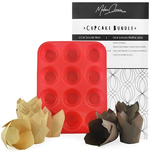 200 Tulip Cupcake Liners with 12-cup Silicone Cupcake Mold in a Giftable Box