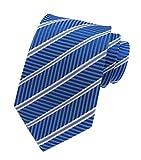 Mens Repp Soft Blue White Silk Tie Fine Stripe Woven Working Summer Suit Necktie