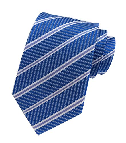 Mens Repp Soft Blue White Silk Tie Fine Stripe Woven Working Summer Suit Necktie ()
