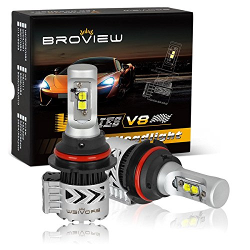 BROVIEM V8 9004 LED Headlight Bulbs with Clear Arc-Beam Kit 72W 12,000LM 6500K White LED Headlamp Headlight Conversion Kit, Hi/Lo beam Headlamp, Dual Beam Head Light (2pcs/set)(9004,HB1)