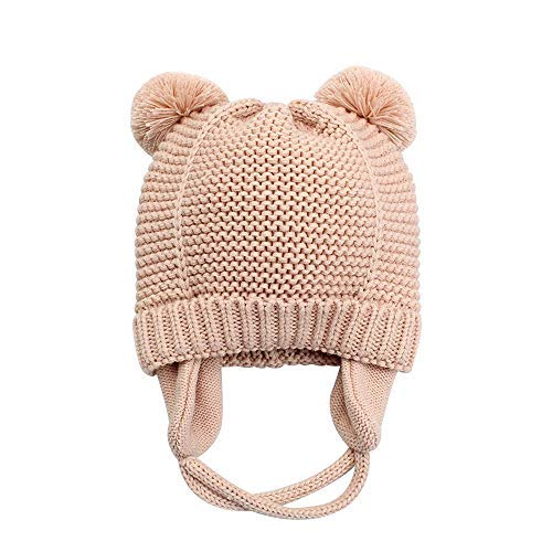 XIAOHAWANG Baby Hat Cute Bear Toddler Earflap Beanie Warm for Fall Winter (2-3Years, Pink ()