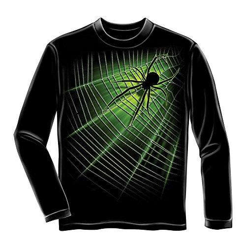 Giant Spider Web Glow in The Dark Longsleeve Adult Tee Shirt (Adult Large) Black]()