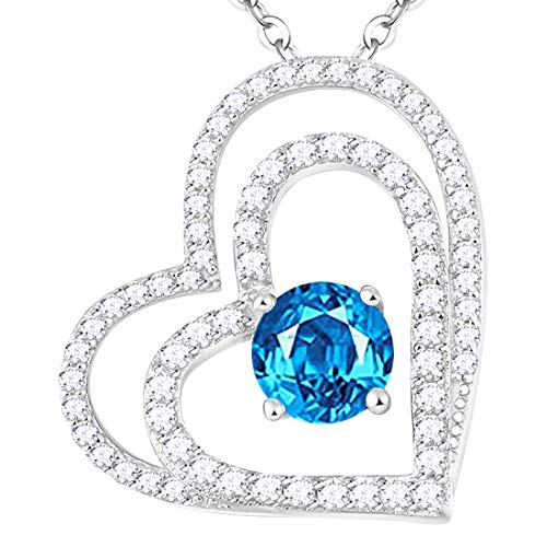 Natural Swiss Blue Topaz Necklace Gifts for Women Gemstone Sterling Silver Jewelry Love Heart Necklace Anniversary Birthday Gifts for Her Wife Daughter Grandma Girlfriend 20