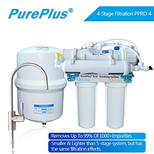 Pureplus PPRO-4 4-Stage Reverse Osmosis Drinking Water Filter System 80 GDP,NSF Faucet & Tank Plus Extra 1 TDS Meter free by Pureplus
