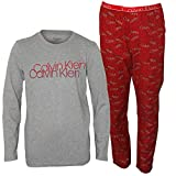 Calvin Klein Boy's Boys Long-Sleeve Scrambled Logo Flannel Pyjama Set, Red/Grey Heather Age 10-12 Red/Grey