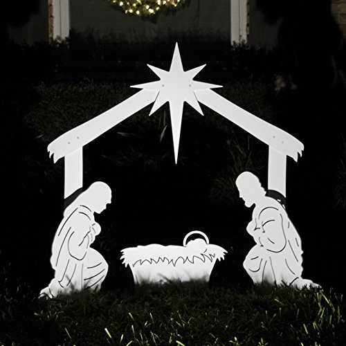 Teak Isle Outdoor Nativity Scene - Holy Family Yard Nativity Set -