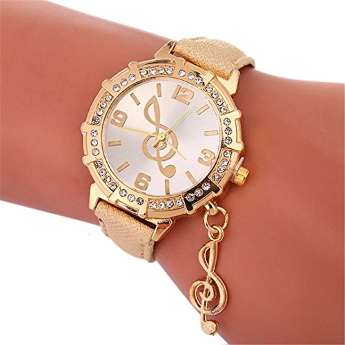 Watches for Women Clearance, Fashion Luxury Wrist Watch Musical Notes Crystal Rhinestone Casual Watches Jewelry Accesssory (Gold) from Paymenow women watches