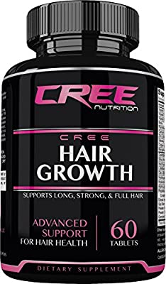 CREE Nutrition Hair Growth Supplements Natural Nutrients for Longer, Stronger, Fuller Hair and Nails with Biotin, Keratin and Bamboo Providing Advanced Support, Made in the USA