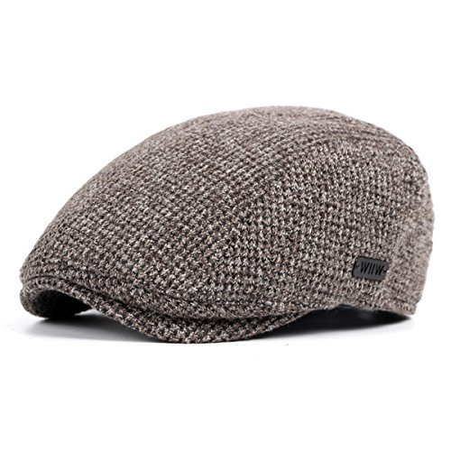 ZLSLZ Mens Knitting Adjustable Ivy Newsboy Cabbie Gatsby Golf Beret Newsie Hat Cap Coffee