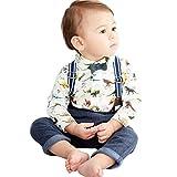 Binmer Baby Boy 2pcs Outfits Toddler Kids Shirt Romper+Suspenders Pants With Dinosaur Print Sets(6M-3T) (100)