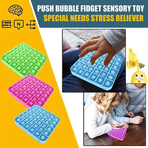 Push pop Bubble Sensory Fidget Toy, Autism Special Needs Stress Reliever Silicone Stress Reliever Toy, Squeeze Sensory Toy for The Old and The Young (Square Green A)