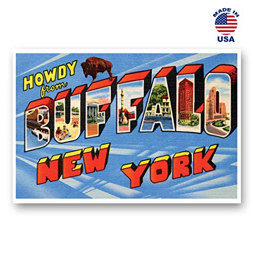 GREETINGS FROM BUFFALO, NY vintage reprint postcard set of 20 identical postcards. Large Letter Buffalo, New York city name post card pack (ca. 1930's-1940's). Made in USA.