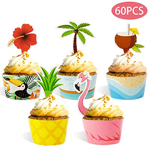 Haojiake 60pcs Cupcake Toppers Wrappers for Hawaiian Luau Summer Flamingo Pineapple Birthday Party Decorations]()