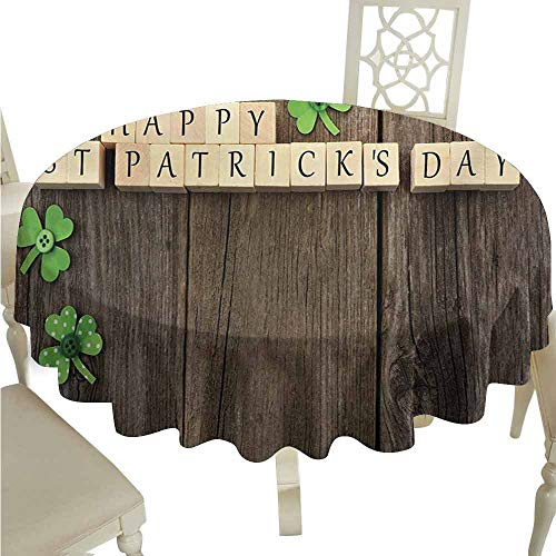 duommhome St. Patricks Day Durable Tablecloth Greetings with Wooden Blocks and Paper Shamrocks on Rustic Planks Image Easy Care D55 Umber Beige