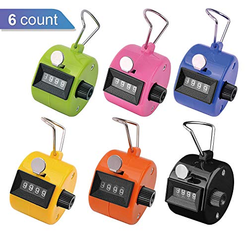 Ktrio Pack of 6 Color Hand Tally Counter 4 Digit Tally Counter Mechanical Palm Click Counter Count Clicker Assorted Color Hand Held Counter Clicker for Sport Stadium Coach Casino and (Handheld Fishing Device)