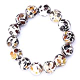 Genuine Amber - Unisex Baltic Amber Bracelet for Adults - Round Shaped Not Polished Beads - Natural Baltic Amber - 7.4 Inches - Mixed, White