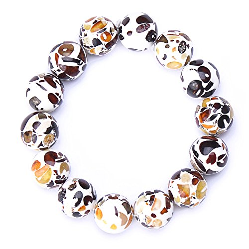 Genuine Amber - Unisex Baltic Amber Bracelet Adults - Round Shaped Not Polished Beads - Natural Baltic Amber - 7.4 Inches - Mixed, White