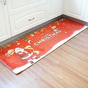 coohole Navidad Papá Noel trineo antideslizante alfombrilla de absorción de agua de Navidad decoración para el hogar área alfombra