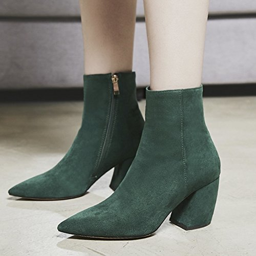 QZUnique Chunky Sexy Toe Martin Mid Square Heel Green Boots Pointy Women 76qRr7