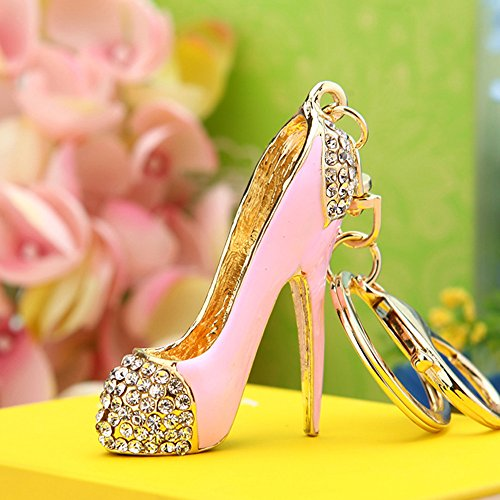 Reizteko Fashion Lady's High Heel Shoe Rhinestone Alloy Women Bag or Car Keychain (Pink) (High Heel Birthday Decorations)