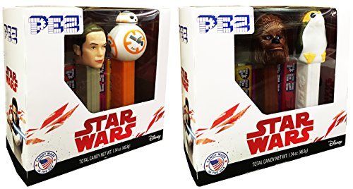 PEZ Candy Star Wars Gift Set with Candy Pack of 2 (Rey, BB-8, Chewbacca, and Porg) -