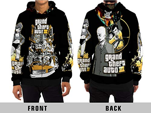 Demonic Grand Theft Auto III Street Fight Long with GTA 3 Unisex Adult Sublimation Print for Men and Women Apparel (X-Large, Zipper Hoodie) (Gta 3 Shirt)