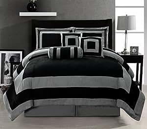 Amazon.com: 7 Pieces Black and Grey stripe Micro Suede ...