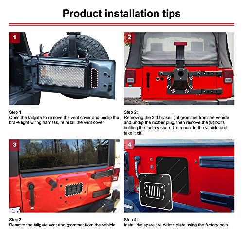 Tailgate Plugs for Jeep Wrangler JK 3 PLASTIC Body Plugs Removed Tire Carrier Bumper Tramp Stamp Vital All-Terrain