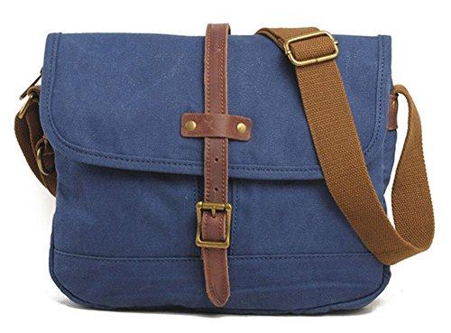 Izacu Flocc Lona bolso mensajero bolsa para hombre bolso de escuela (29*4*27cm, deep grey) blue