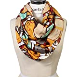 Scarfand's Mixed Color Oil Painting Infinity Scarf (Abstract Mustard Brown)