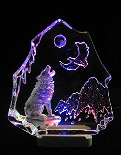(Engraved lead crystal Wolf & Eagle on LED color light base )