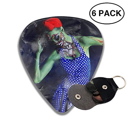 Holiday Halloween Makeup Zombie Celluloid Guitar Picks 3D Printed 6-pcs Thin, Medium, Heavy Gauges For Boyfriend -
