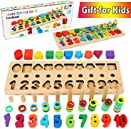 CozyBomB Wooden Number Puzzle Sorting Montessori Toys for Toddlers - Shape Sorter Counting Game for Age 3 4 5