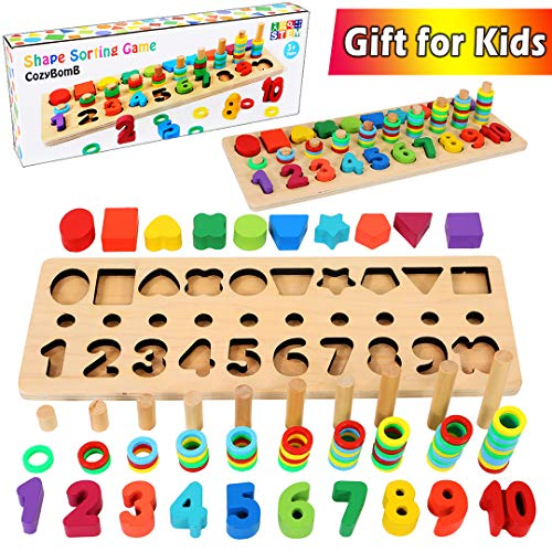 CozyBomB Wooden Number Puzzle Sorting Montessori Toys for Toddlers - Shape Sorter Counting Game for Age 2 3 4 5 Year olds Kids - Preschool Education Math Stacking Block Learning Wood Chunky Jigsaw