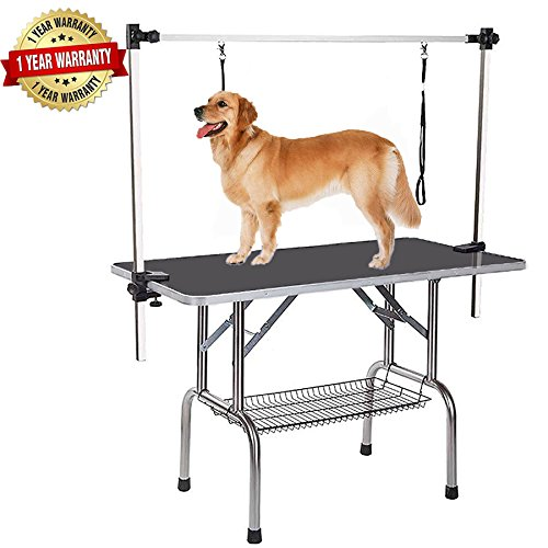 - Heavy Duty Dog Pet Grooming Table Large Professional Adjustable with Arm & Noose & Mesh Tray, Maximum Capacity Up to 250LB, 36''/ Black
