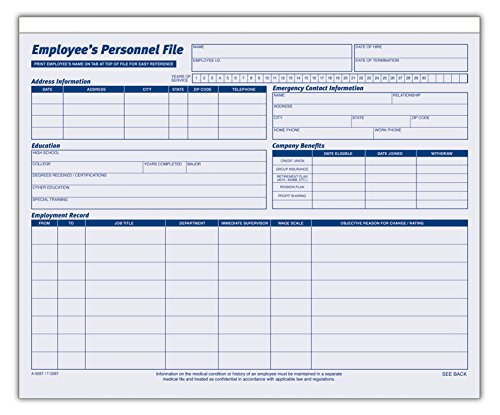 AmazonCom  Adams Employees Personnel File Folder Heavy Card Stock