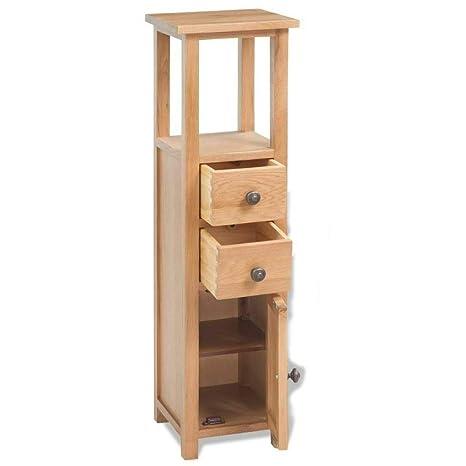Amazon.com: 2 Drawer,1 Door Corner Slim Cabinet Solid Oak ...