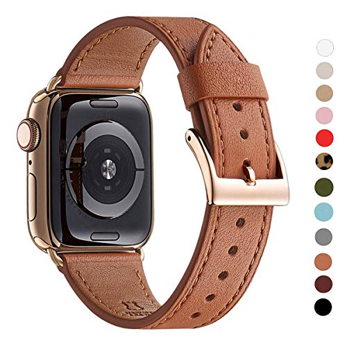- WFEAGL Compatible iWatch Band 44mm 42mm, Top Grain Leather Band with Gold Adapter (The Same as Series 4 with Gold Stainless Steel Case in Color) for iWatch Series 4/3/2/1 (Brown Band+Gold Adapter)